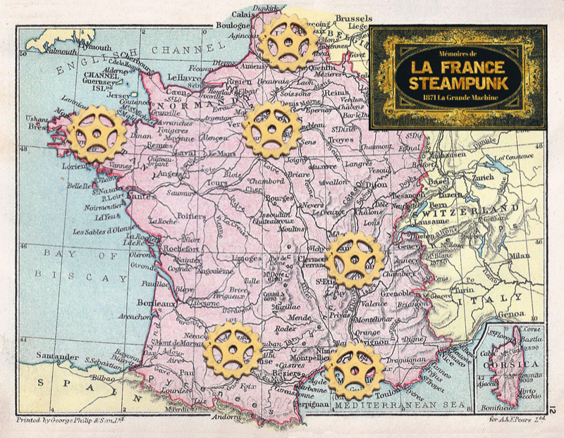 carte de la France steampunk